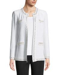 Misook - Stud-trim Knit Jacket - Lyst