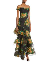 David Meister - Asymmetric Tiered Floral Off-the-shoulder Dress - Lyst