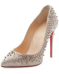 Christian Louboutin - Escarpic 100mm Spiked Fabric Red Sole Pumps - Lyst