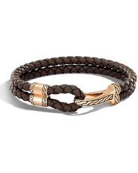 John Hardy - Men's Classic Chain Braided Leather Hook Station Bracelet - Lyst
