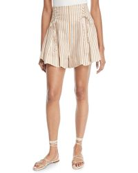 Zimmermann - Painted Heart Striped Lace-up Linen Shorts - Lyst