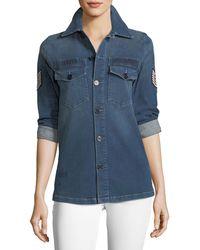 Etienne Marcel | Adriana Button-front Denim Shirt W/ Pilot Patches | Lyst