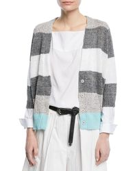 Brunello Cucinelli - Coated Rugby-stripe Cardigan With Metallic - Lyst
