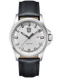 Luminox - 1839 Dress Field Stainless Black Leather Strap Watch - Lyst