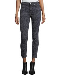7 For All Mankind - The Ankle Skinny Animal-print Skinny Jeans - Lyst