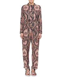 Isabel Marant | Xulia Long-sleeve Belted Printed Straight-leg Jumpsuit | Lyst
