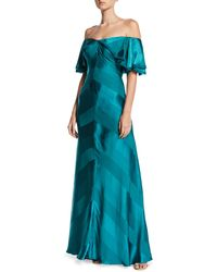 Zac Posen - Off-the-shoulder Draped-sleeve Tonal-striped Satin Evening Gown - Lyst