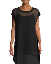Eileen Fisher - Sheer Silk Georgette Long Tunic - Lyst
