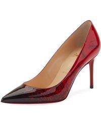 e312cd72b555 Christian Louboutin - Decollete 554 Mid-heel Patent Degraloubi Red Sole  Pumps - Lyst