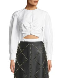 Derek Lam - Ruched-front Long-sleeve Poplin Top With Cutout - Lyst