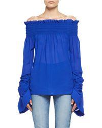 Saint Laurent - Silk Georgette Off-the-shoulder Top - Lyst