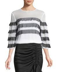 MILLY - Stretch Dots Mesh Long Sleeve Stripe Gabriella Top - Lyst
