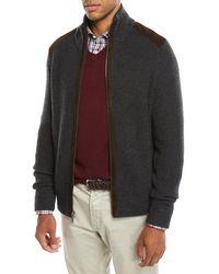 Neiman Marcus - Men's Suede-trim Zip-front Sweater - Lyst