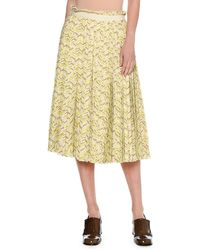 Tomas Maier Chevron Pleated Midi Skirt Yellow