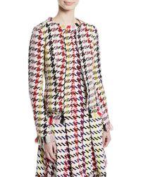 Oscar de la Renta - Multi-check 2-pocket Cropped Tweed Jacket - Lyst