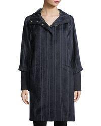 Bogner - Wendy Mixed-media Striped Hooded Alpaca-blend Coat - Lyst