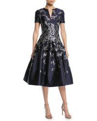 Oscar de la Renta - Short-sleeve Coral-jacquard Full-skirt Cocktail Dress With Pockets - Lyst