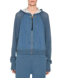 Agnona - Cashmere Netted-sleeve Zip-front Hoodie - Lyst