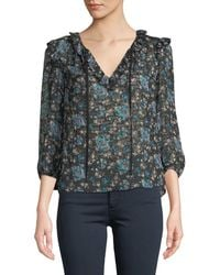 Rebecca Taylor - Solstice Floral Ruffle 3/4-sleeve Top - Lyst