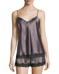 Neiman Marcus - Lace-trimmed Silk Lounge Tank - Lyst
