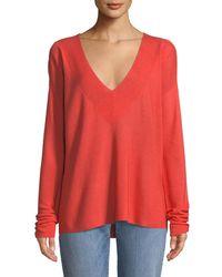 Eileen Fisher - Silky V-neck Boxy Sweater - Lyst