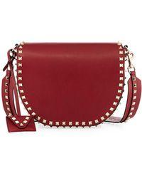 Valentino | Rockstud Free Leather Saddle Bag | Lyst