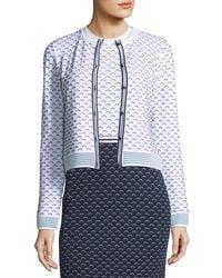 St. John - Graphic Ripple-stitch Knit Cardigan - Lyst