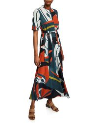 Lafayette 148 New York Augustina Abstract - Print Belted Shirt Dress