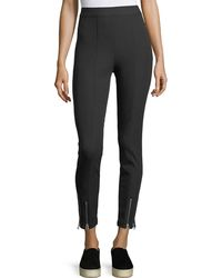 T By Alexander Wang | Stretch-cotton Fitted Pants W/ Ankle Zippers | Lyst