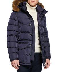 Moncler - Men's Cluny Fur-trim Puffer Coat - Lyst