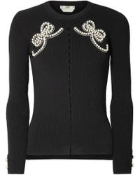 Fendi - Faux-pearl Embellished Ribbed-knit Sweater - Lyst