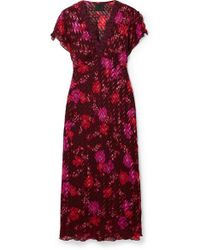 Anna Sui Scattered Flowers Lace-trimmed Silk-blend Jacquard Midi Dress