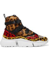 Chloé - Sonnie Leopard-print Calf Hair High-top Sneakers - Lyst
