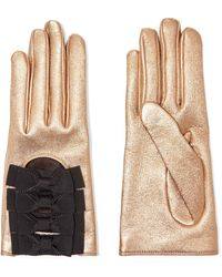 Gucci - Bow-embellished Metallic Textured-leather Gloves - Lyst