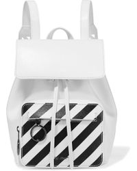 Off-White c/o Virgil Abloh - Striped Textured-leather Backpack - Lyst