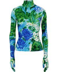 Richard Quinn - Floral-print Velvet Turtleneck Top - Lyst