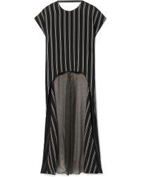 Esteban Cortazar - Striped Satin-twill And Silk-blend Chiffon Blouse - Lyst