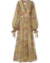 Zimmermann - Robe Longue En Crépon De Soie à Imprimé Fleuri Melody - Lyst