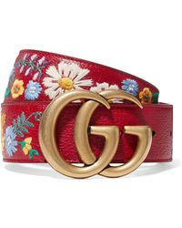 a4c64de65 Gucci - Embroidered Textured-leather Belt - Lyst