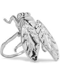 balenciaga bug silvertone ring lyst