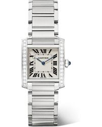 Cartier - Tank Française 25.05mm Medium Stainless Steel And Diamond Watch - Lyst