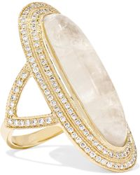 Jacquie Aiche - 14-karat Gold, Moonstone And Diamond Ring Gold 7 - Lyst