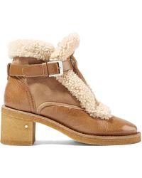 Laurence Dacade - Snow Ankle Boots Aus Glanzleder Und Veloursleder Mit Shearling-besatz - Lyst