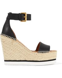 See By Chloé - Leather Espadrille Wedge Sandals - Lyst