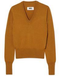MM6 by Maison Martin Margiela - Vinyl-trimmed Wool Sweater - Lyst