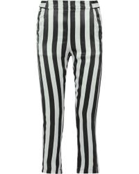 Ann Demeulemeester - Cropped Striped Silk-satin Pants - Lyst