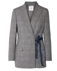 Agnona - Leather-trimmed Checked Twill Blazer - Lyst
