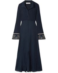 Chloé - Printed Georgette-trimmed Ribbed Stretch-knit Midi Dress - Lyst
