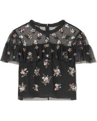 Needle & Thread - Lustre Cropped Embellished Tulle Top - Lyst