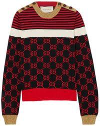 Gucci - Metallic-trimmed Intarsia Cotton Sweater - Lyst